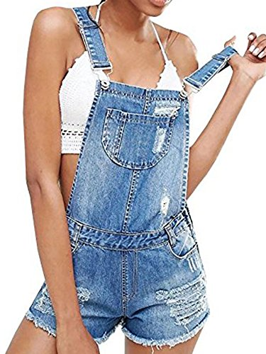 Chuanqi Womens Distressed Denim Shorts Bib Overalls Adjustable Strap Ripped Rompers Jeans ()