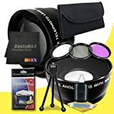 82mm Wide Angle + 2x Telephoto Lenses + 3 Piece Filter Kit for Canon EOS Rebel T2i with Canon 16-35mm f/ 2.8 Lens + DavisMAX Fibercloth Deluxe Lens Bundle