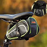 Eloiro for Bicycle , Road Bike & MTB Cycling Saddle Bag, Waterproof Strap-on Bike Bag Back Seat Pouch Pocket Pack Seat Bag for Outdoor Night Safety Ride, Convenient with Reflective Stripes - Green