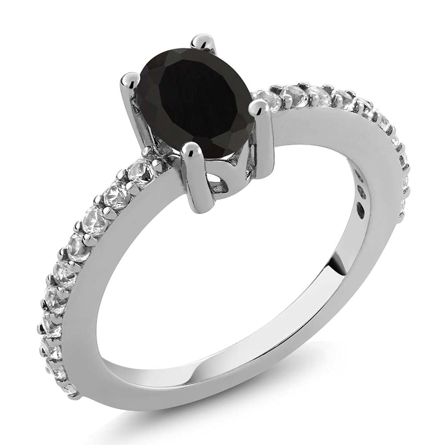 0.98 Ct 7x5mm Oval Black Onyx White Created Sapphire 925 Sterling Silver Ring