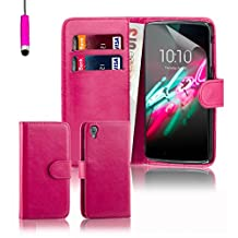 Alcatel Idol 3 Case by 32nd, Book Style PU Leather Wallet Case Cover for Alcatel OneTouch Idol 3 cell phone (5.5 inch version only) - Hot Pink