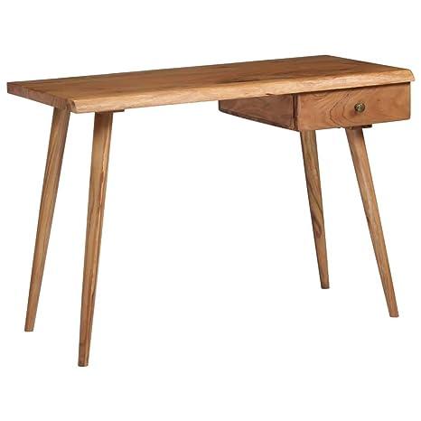 Holz Computertisch Massives Akazienholz 100 x 51 x 76 cm Vintage B/ürotisch Festnight Schreibtisch mit Schubladen Rustikal Arbeitstisch