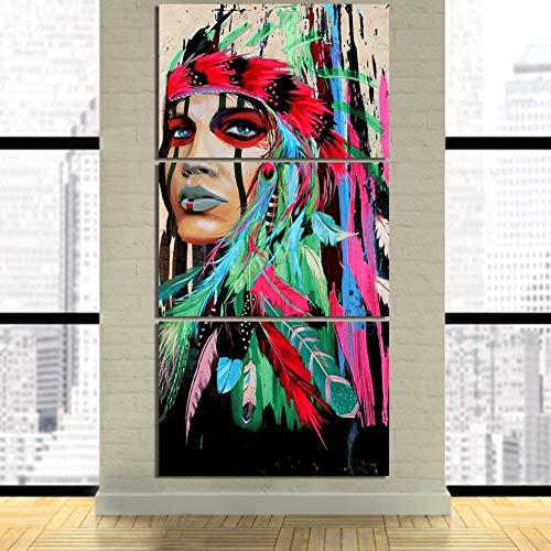 OJKYK Impresiones Ilustraciones 3 Piezas CuadrosenLienzo Pintura Belleza Indio Nativo Indígena Muchacha Americana...