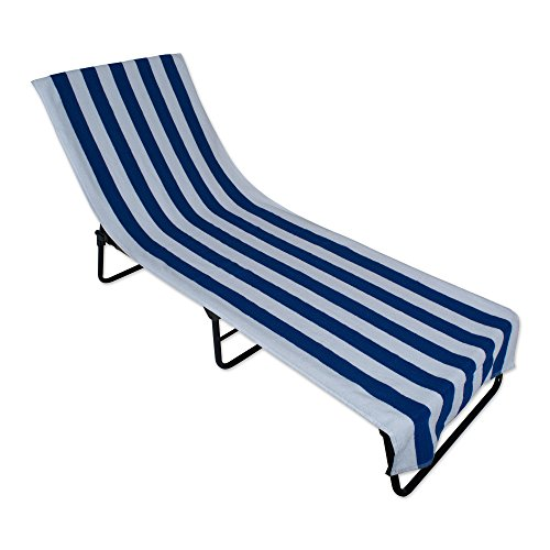 J&M Home Fashions Stripe Beach Lounge Chair Towel With Fitted Top Pocket (26x82 - Blue) Soft, Absorbent, and Fast Drying for covering Pool Chairs While Swimming, Lounging, or Tanning (Cabana Beach Lounge)