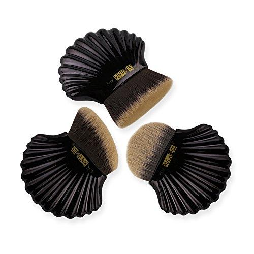 Kabuki Makeup Brushes Sets Professional Synthetic Brushes for Foundation Face Blusher Contour Powder Liquid Cream Cosmetics Brushes Kit with Shell-shaped by MAANGE (3pcs) (Black)