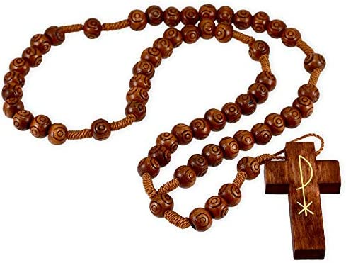 Retro wooden necklace wood jewelry Wooden Beads with Glass Vintage boho beads vintage Wooden rosary