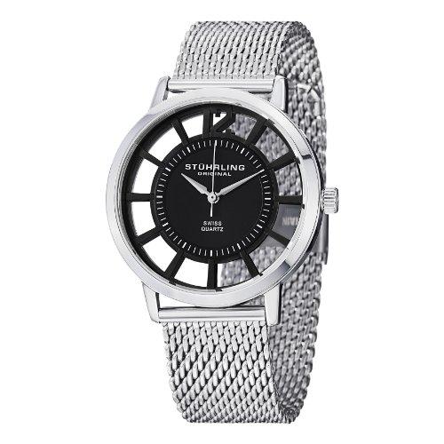 Mens Elite Bracelet Watch - Stuhrling Original Men's 388M.02 Winchester Del Sol Elite Swiss Quartz Stainless Steel Mesh Bracelet Watch