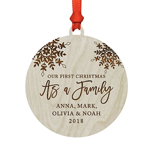 Andaz Press Personalized Blended Family Laser Engraved Wood Christmas Ornament, Our First Christmas as a Family 2018, Snowflakes, 1-Pack, Includes Ribbon and Gift Bag, Custom Name