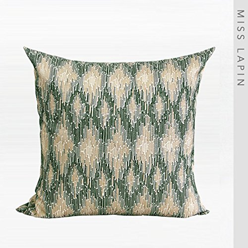 Vaevanhome Silk Imitation Silk by The Package Pad Pillow Green European Classical Pattern Embroidery Square Pillow ()
