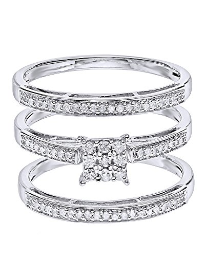 White Natural Diamond Wedding & Engagement Trio Band Ring...
