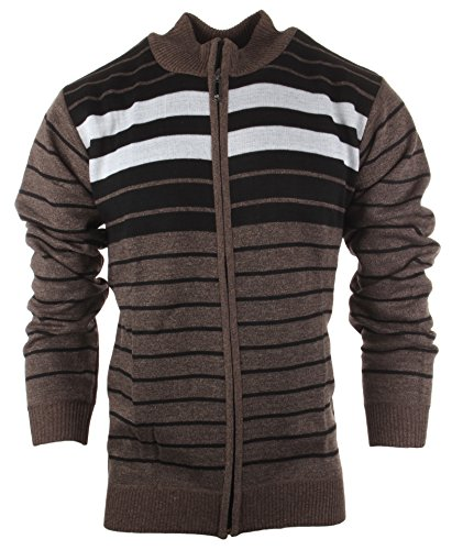Enimay Men's Fashion Business Casual Full Zip Knit Cardigan Sweater Jacket Brown Large - Full Zip Striped Sweater