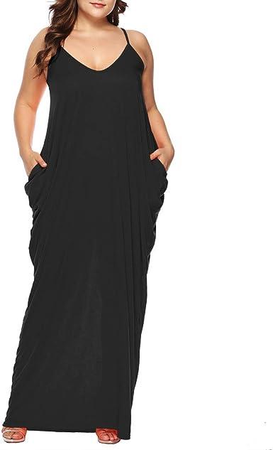 Overdose Soldes Robe Longue Femme Grande Taille Ete Sexy Col V Robe De Soiree Sans Manches Loose Maxi Mode Caraco Dress Avec Poches Taille 40 44 Amazon Fr Vetements Et Accessoires