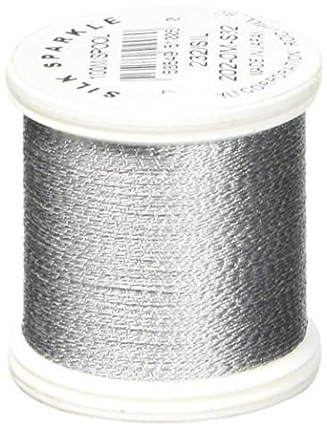 YLI 2020M-S32 Silk Sparkle Metallic Silk Thread, 100 yd, Silver - Gold Silver Brads