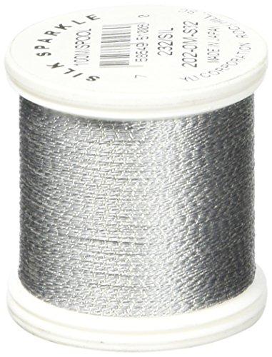 YLI 2020M-S32 Silk Sparkle Metallic Silk Thread, 100 yd, Silver