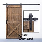 SMARTSTANDARD 8 FT Sliding Barn Door Hardware (Black) (J Shape Hangers) (1 x 8 foot Rail)