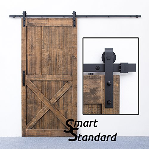 SMARTSTANDARD 8 FT Sliding Barn Door Hardware (Black) (J Shape Hangers) (1 x 8 foot (Nickel Support Bar Bracket)