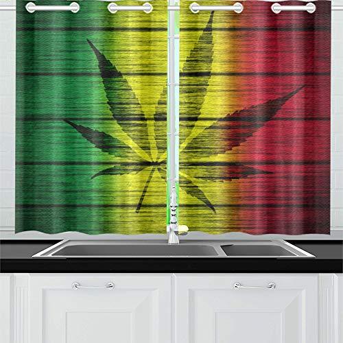 (AIKENING Texture Wood Rasta Flag with Marijuana Leaf Silhou Kitchen Curtains Window Curtain Tiers for Café, Bath, Laundry, Living Room Bedroom 26 X 39 Inch 2 Pieces)