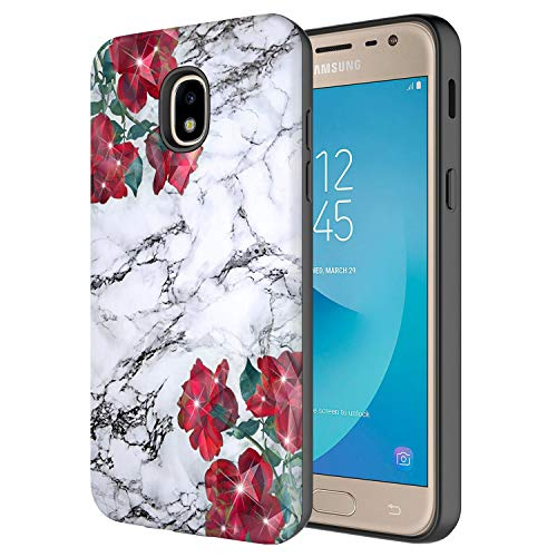 - Samsung Galaxy J3 Achieve/J3 Star/J3 V 2nd Gen./J3 2018/Express Prime 3/Sol 3 Case, Onyxii Hybrid Laser Glitter Sparking Graphic Protective Cover Case for SM-J337 (White Marble with Flower)