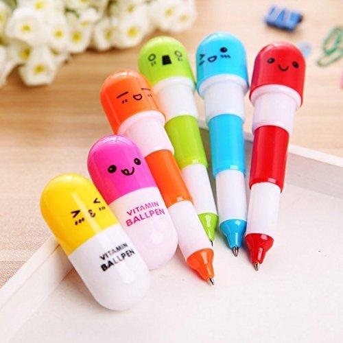 BEESCLOVER 1pc Mini Retractable Pill Ball Point Pen,Micro Tiny Cute Novelty Gift (Random Color)