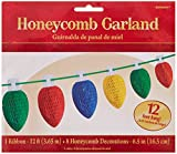 Holiday Cheers Christmas Party Honeycomb Lightbulb Garland Decoration - Red Green Blue Yellow - Paper - 12 Feet - 1-Piece