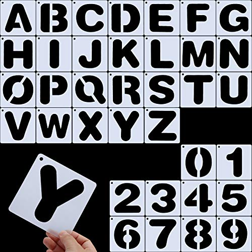 Letter Stencils, Alphabet Templates, Alphabet Stencils Reusable Plastic Art Craft Stencils with Numbers (Style B, Size 2)