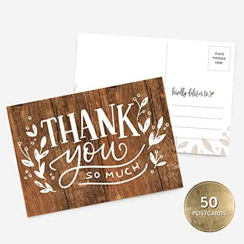 50 4x6 Handlettered Thank You Postcards Bulk Set, Rustic Wood Thank You, Boy or Girl Baby Shower Thank You Note Card Stationery, Blank Thank You Note Card
