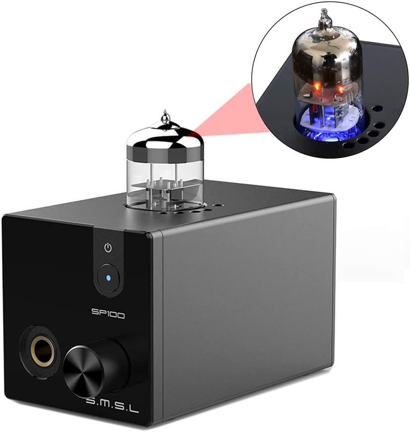 SMSL SP100 Vacuum Tube Headphone Amplifier Replaceable 6N3 Buffer HiFi Stereo Audio Desktop Amp Preamplifier Preamp (Black)