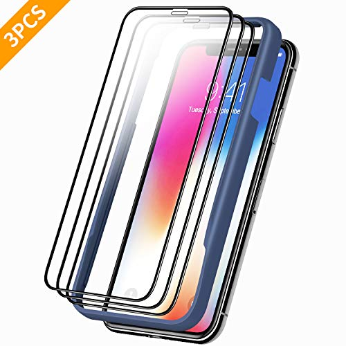 3pcs Premium Screen Protectors for iPhone Xs Max 6.5 inch, Clear Tempered Glass Screen Protector + Easy Installation Frame, with Full Screen Coverage, High Clarity and Touch Accurate Sold by YT DIRECT