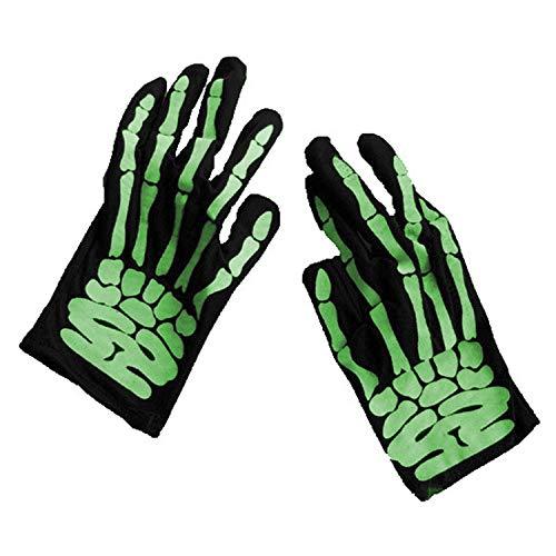 Sasairy Halloween Horror Skull Bone Gloves, Unisex Skeleton Bone Short Gloves Halloween Costume Cosplay Party Props -