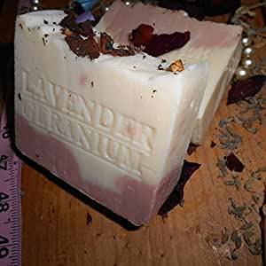 Provence French Lavender Egyptian Geranium with Rose Clay Soap , Crushed Flowers and Organic Shea Butter All Natural