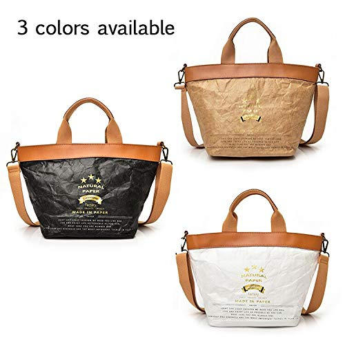 Handbag QTKJ Leather Straps With Protection Kraft Paper Fashion Zipper Tote Washable Bag Environmental Lightweight AnpfUwqrA