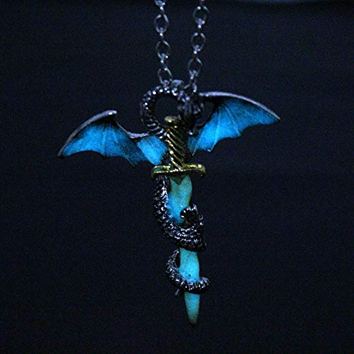 NCEGITA Hot Vintage Game of Throne Dragon Sword Punk Luminous Jewelry Necklace Pendants Glowing in The Dark Sweater Chain Charms Choker