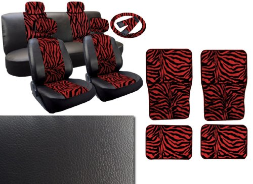 Unique Imports Red Zebra Deluxe Leatherette 13pc Full Car Seat Cover Set Premium Synthetic Leather Double Stitched - 4pc Faux Fur Floor Mats - Full Interior