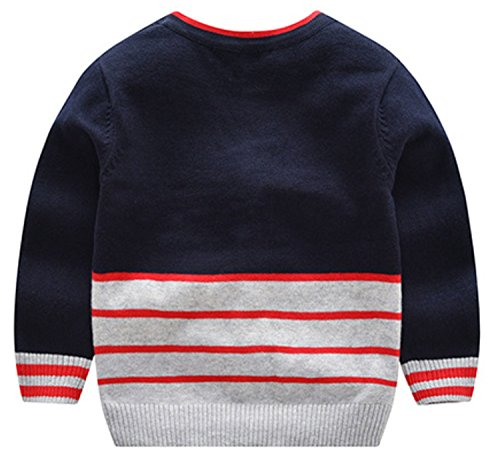 AUIE SAOSA Boy's Fashion Sweater in Autumn and Winter stripe V-neck Blue B120 by AUIE SAOSA (Image #1)