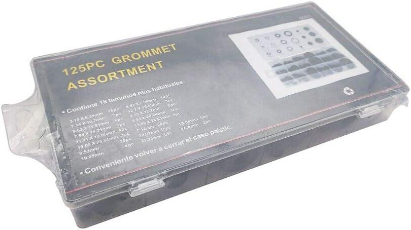 Gummidichtung 125 St/ück Dichtungringe Set schwarz Gummit/ülle Sortiment Set elektrische Leiterdichtung Gummi-Durchgangst/üllen Kabelschutz
