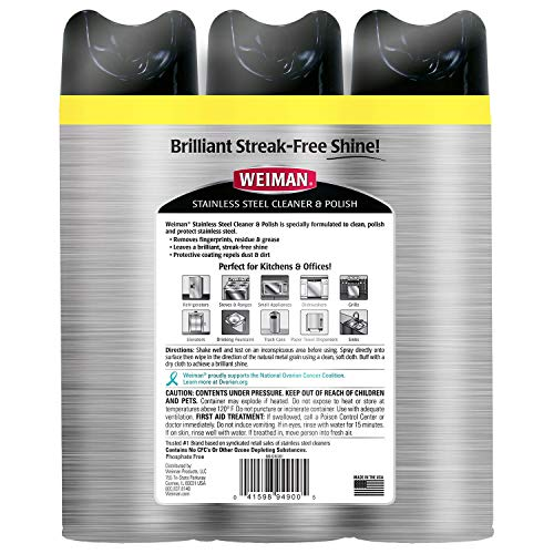 An Item of Weiman Stainless Steel Cleaner & Polish (17oz,3pk.) - Pack of 1 - Bulk Disc