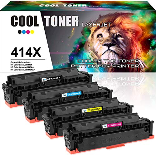 Cool Toner Compatible Toner Cartridge Replacement for HP 414X 414A W2020X W2021X W2022X W2023X HP Color Laserjet M454dw M454dn MFP M479fdw M479fdn Printer (Black Cyan Magenta Yellow, No-Chip, 4-Pack)