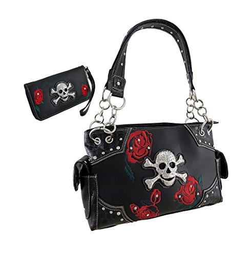 Vinyl Purse Wallet Kits Rhinestone Skull Red Roses Black Concealed Carry Purse/Wallet Set 13 X 8.5 X 4.5 Inches Black (Rhinestone Rose Skull)