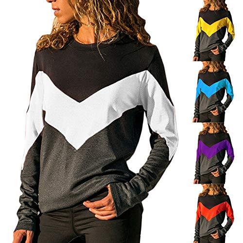 SANFASHION Shirt Mode Longue Femme Haut Patchwork V Manche T Chic rpq5r