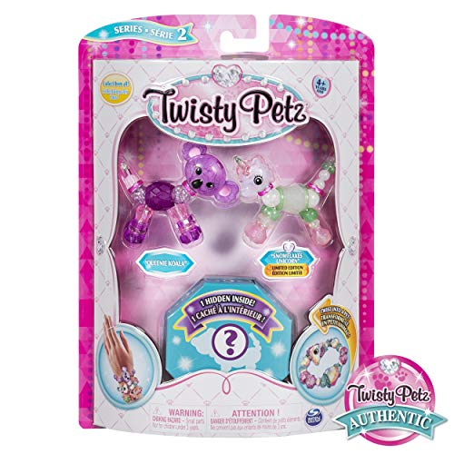 Twisty Petz, Series 2 3-Pack, Queenie Koala, Snowflakes Unicorn and Surprise Collectible Bracelet Set for Kids