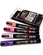 Uni POSCA - PC-5M Art Paint Markers - zestaw 4 - w plastikowym portfelu - kwiaty odcienie