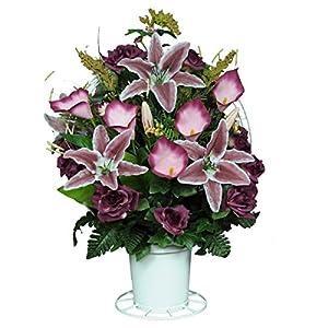Sympathy Silks Burgundy Open Roses with Stargazer Lilies Silk Flower Basket by (BA1565) 12