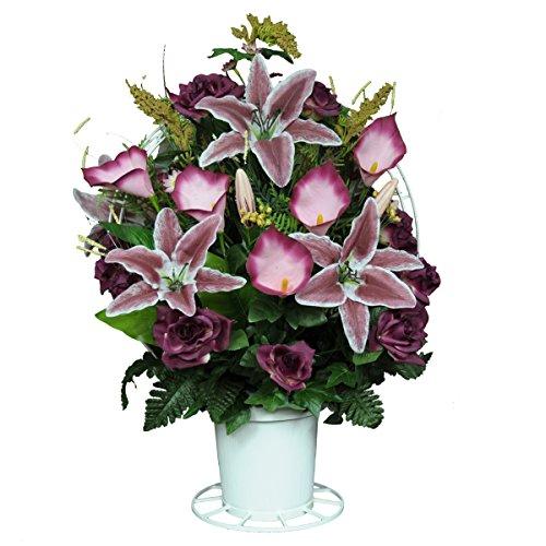 Sympathy Silks Burgundy Open Roses with Stargazer Lilies Silk Flower Basket by (BA1565)