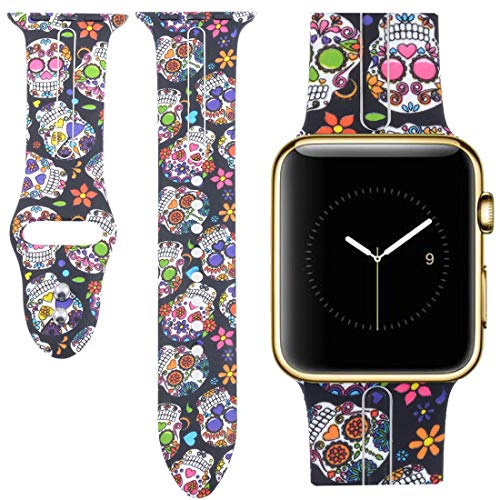 Allbingo Cute Bands for Apple Watch Band 38mm 42mm Women Men (Skeleton Flowers, 42mm M/L)