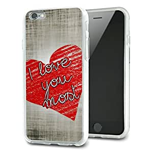 I Love You Most with Hearts Slim Fit Hybrid Case Fits Apple iPhone 6 Plus
