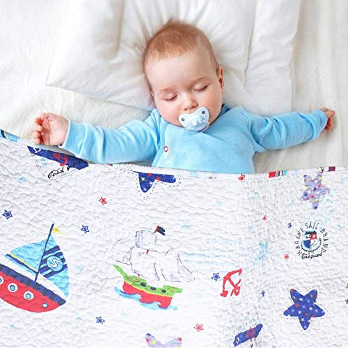 """ABREEZE Sailboat Baby Bedding Coverlet Quilt Bedspread Throw Blanket for Kids 43"""" X 51"""" from ABREEZE"""