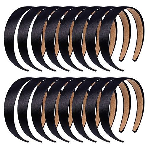 Anezus 16 Pcs Satin Headbands 1 Inch Anti-slip Black Ribbon Hair Bands for Women Girls DIY Craft Hair Accessories -