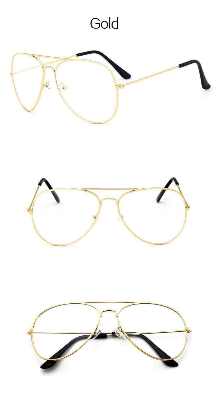 FidgetKute Classic Eyeglasses Frame Women Men Brand Design Eyewear Pilot Plain Aviator Gunmetal