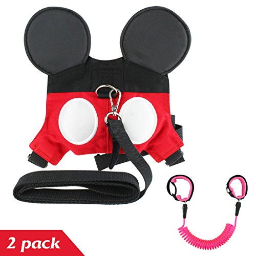 2 Pack Baby Child Anti Lost Wrist Leash Safety Harness Backpack Walking Hand Belt Band Wristband for Toddlers, Kids to Disneyland, Zoo, or Mall - Red Pink by KOMIWOO