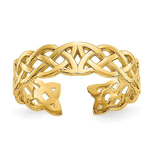 Celtic 14k Ring Toe (14k Yellow Gold Irish Claddagh Celtic Knot Adjustable Cute Toe Ring Set Fine Jewelry For Women Gift Set)